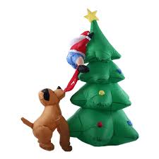 1 8m 70in tall inflatable christmas tree santa claus dog decor