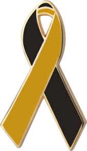 black and yellow ribbon black and gold awareness ribbons lapel pins