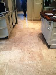 deep cleaning and polishing a limestone tiled kitchen floor in