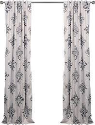 White And Black Damask Curtains Half Price Drapes Tugra Damask Blackout Thermal Rod Pocket Single
