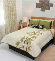 Bamboo Bedding Set Bamboo Leaves Olive Green Beige Reversible Comforter Set