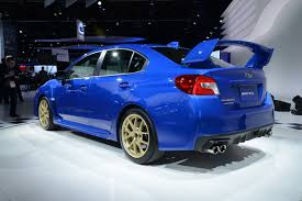 subaru roof spoiler amigurumiomer 2015 subaru wrx sti bows in detroit with a big wing