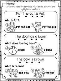 reading comprehension check for preschool kindergarten english