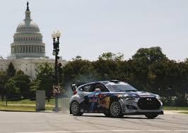 hyundai veloster car and driver rhys millen lights up d c in a hyundai veloster grc car