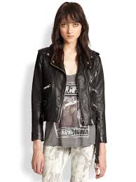 leather motorcycle clothing the kooples leather motorcycle jacket in black lyst
