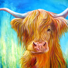 highland cow with turquoise green and blue cow art print of