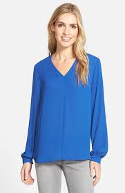 pleione blouse lyst pleione high low v neck blouse in blue