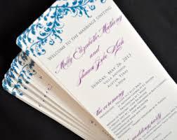 customized wedding programs custom program etsy