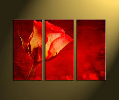 Rose Home Decor by 3 Piece Canvas Red Rose Flower Art