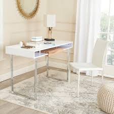 modern white lacquer desk baxton studio rhombus contemporary white finished wood desk 28862