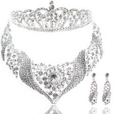 bridal necklace earring images Fashion bridal pageant tiara crown necklace earring 3 pieces jpg