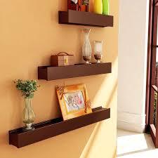 artesia brown wooden wall shelf display rack shelf set of three