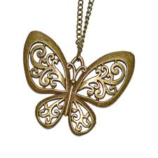 necklace butterfly pendant images Rustic tone butterfly pendant necklace long chain desiflo jpg