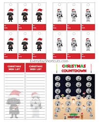 star wars themed christmas printable set wish list gift tags