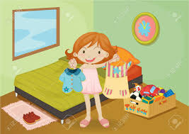 Bedroom Cartoon Illustration Of A On Colorful Background Royalty Free