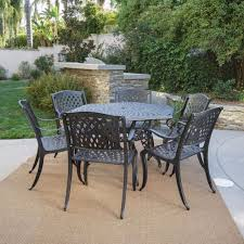 Hexagon Patio Table Outdoor Patio Furniture 7pcs Bronze Cast Aluminum Hexagon Dining