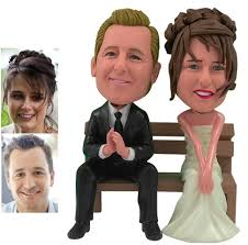 custom wedding cake toppers custom personalized wedding cake topper of a on a bench by 3d