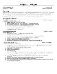 food and beverage director resume gregory morgan resume
