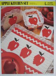 Apple Kitchen Decor by Apple Kitchen Set Plastic Canvas Pattern For Place Mat Coasters
