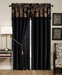 Black Gold Curtains Black Window Curtain Panels Gold Floral Valance Bedroom Jacquard