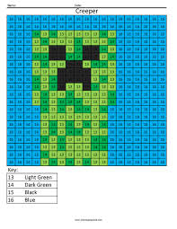mc13 minecraft creeper math coloring sheets big