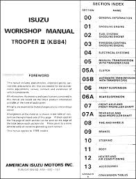 1988 isuzu trooper ii repair shop manual original