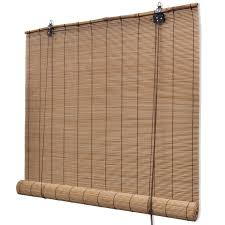 brown bamboo roller blinds 80 x 160 cm bamboo blinds feather