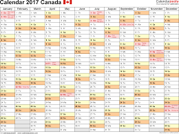 How Many Weeks In A Year by Canada Calendar 2017 Free Printable Excel Templates