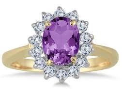 rings with amethyst images Oval amethyst flower diamond ring 14k yellow gold jpg