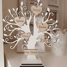 personalised wooden family tree on stand white shabby chic 15