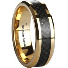 carbon wedding band black carbon fiber inlay gold tone tungsten wedding ring 8mm