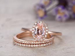 Promise Engagement And Wedding Ring Set by Morganite Engagement Ring With Diamond Solid 14k Rose Gold Promise