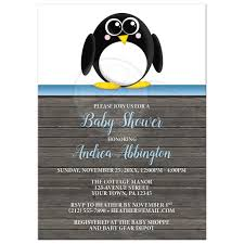 penguin baby shower shower invitations penguin blue rustic brown wood