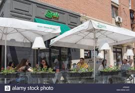 outdoor terrace at sachi caffe coffee shop bulevardi bill klinton