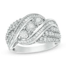 silver hand rings images 1 ct t w baguette and round diamond three stone multi row bypass jpg
