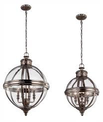 Orb Light Fixture by Vintage Orb Style Antique Nickel And Glass Chandelier