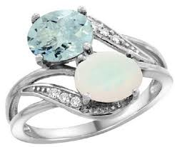 mothers rings 2 stones oval cut aquamarine opal 2 s ring with diamond