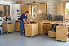 woodshop workshop floor garage designing rollaway workshop startwoodworkingcom home design