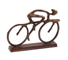 cyclist sculpture with antique bronze finish design essentials