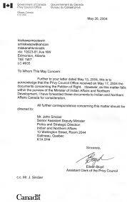 bureau gouvernement du canada 6 letter gov dept of canada privy office indians remain bound