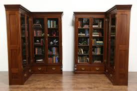 Corner Bookcases With Doors Sold Pair 1890 Antique Mahogany Library Corner Bookcases Glass