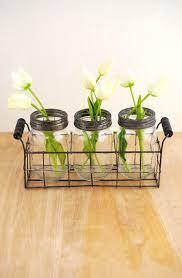 jar vase basket with 3 glass jars with frog lids