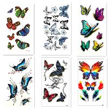 6pcswaterproof temporary sticker on butterfly