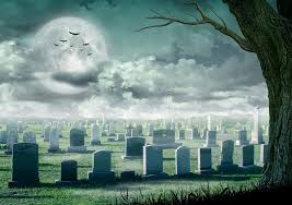 design spooky tree horror background with cemetery