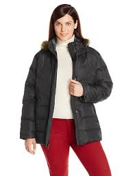 larry levine women u0027s plus size down jacket with removable faux fur