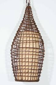 Wicker Light Fixture by Midcentury Basket Style Wicker Pendant Or Lantern For Sale At 1stdibs