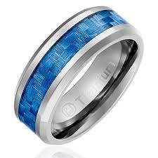 light blue rings images 8mm comfort fit titanium wedding band engagement ring with light jpg