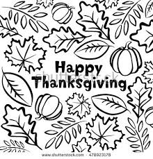 traditional thanksgiving symbols freehand vector drawings stock
