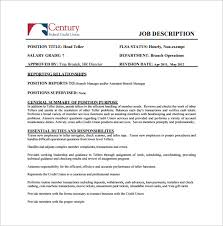 bank teller job description template 7 free word pdf format