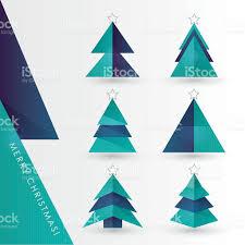 modern minimal geometric christmas pine tree paper cutouts vector